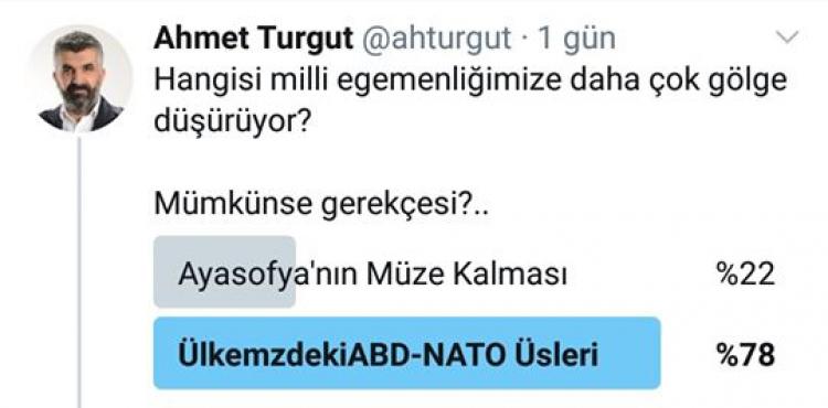 YAZAR AHMET TURGUT SOSYAL MEDYA HESABINDA ÜLKEMİZDEKİ ABD-NATO ÜSLERİ VE AYASOFYA İLE İLGİLİ ÇARPICI BİR ANKET YAPTI
